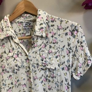 Vintage Floral Button Down Dress - Size Large
